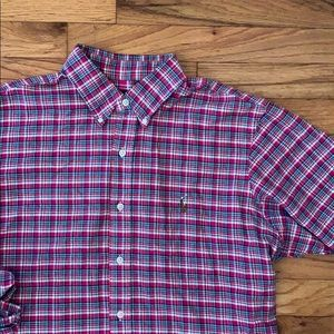 Blue and pink casual men's button down